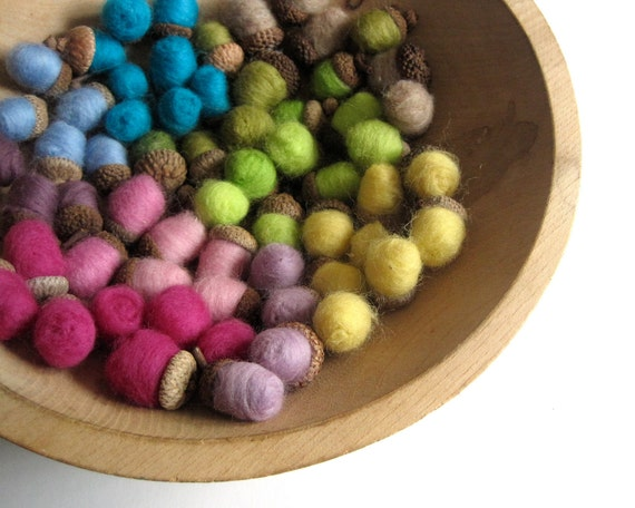 giant SET of 60 felted wool acorns - 1980s neon remix rainbow / eco friendly home decor table decorations - SALE