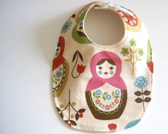 matryoshkas BABY BIB - modern baby cream pink and brown nesting dolls with organic cotton flannel