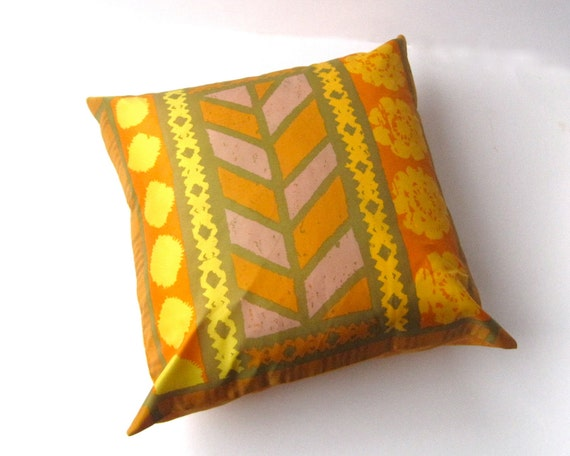 silk throw pillow cover - home decor tribal vintage Vera scarf cushion / 1970s handpainted in gold orange chevron (only 1 - ready to ship)