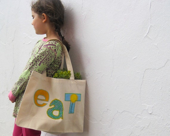 Organic Bag - tote bag / farmer's market summer food bag in mustard green and blue (ONLY 1 - ready to ship)