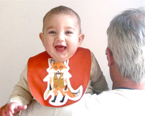 foxy organic baby bib - eco friendly rust orange woodland fox / for feeding teething girls boys  (ONLY 1)