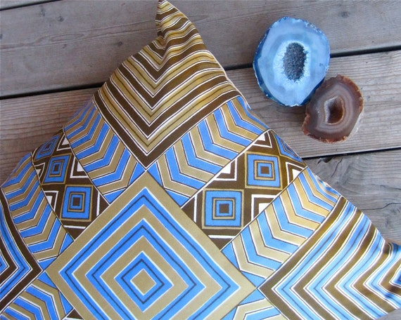 Tribal Vera Silk Throw PILLOW Cover - Handmade Sham With 1970s Vera Western Native American Indian Silk in Blue Gold Brown (Ready to Ship)