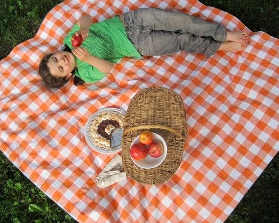 Picnic Blanket- Organic- Waterproof Picnic Blanket, Orange Gingham