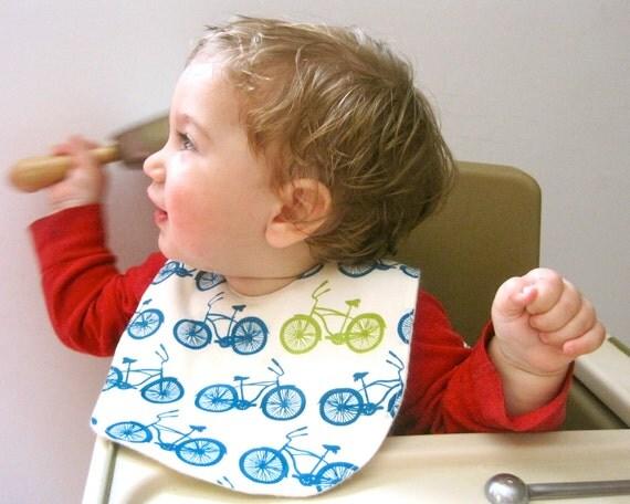 Organic BABY BIB Bicycles - Summer Bikes Blue Feeding Drooling Bib for Boys and Girls