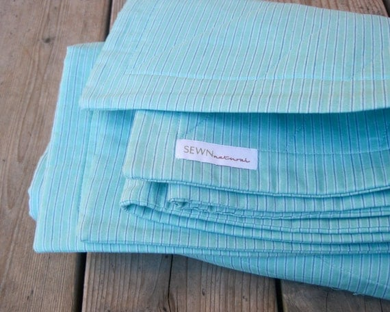 SALE - Organic Baby Quilt Sea Stripes Nautical Aqua Blue - Handmade Eco Friendly Modern Kids Crib Bedding (LAST ONE)
