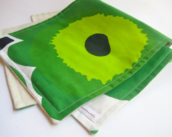 Modern Baby Burp Cloths - ORGANIC Marimekko Poppy set of 2 in Kelly Green and Lime for Eco Friendly Kids (Ready to Ship - only one)