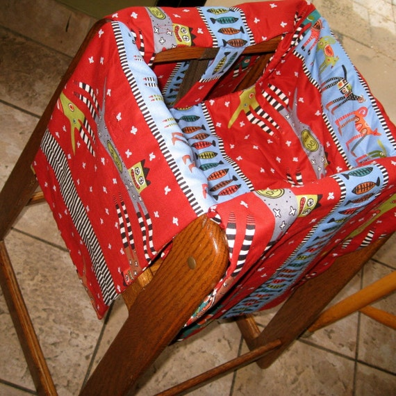 Kids Restaurant High Chair Cover / Red And Blue