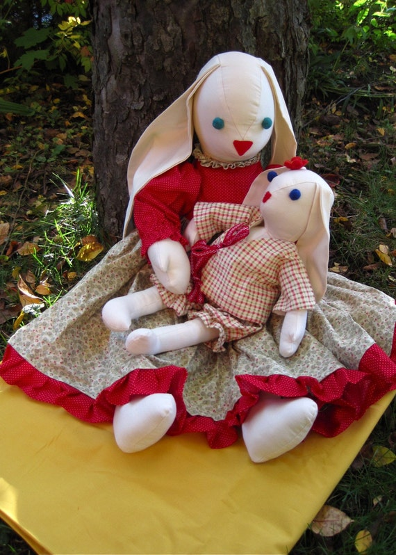 mother and baby organic rabbit dolls \/ eco spring bunny stuffed animals for easter and mother's day