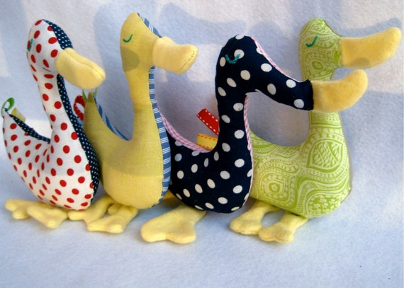 upcycled duck baby rattle toy \/ eco organic and vintage