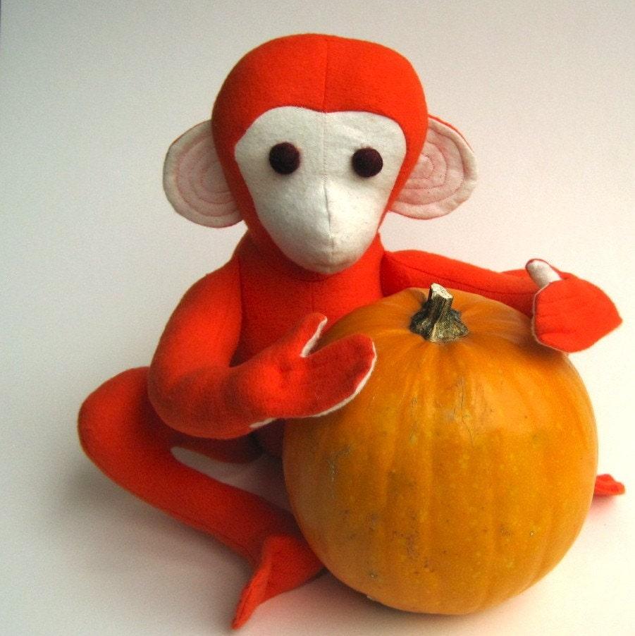 Organic Baby Toys : Organic baby toy stuffed animal monkey for halloween in atomic