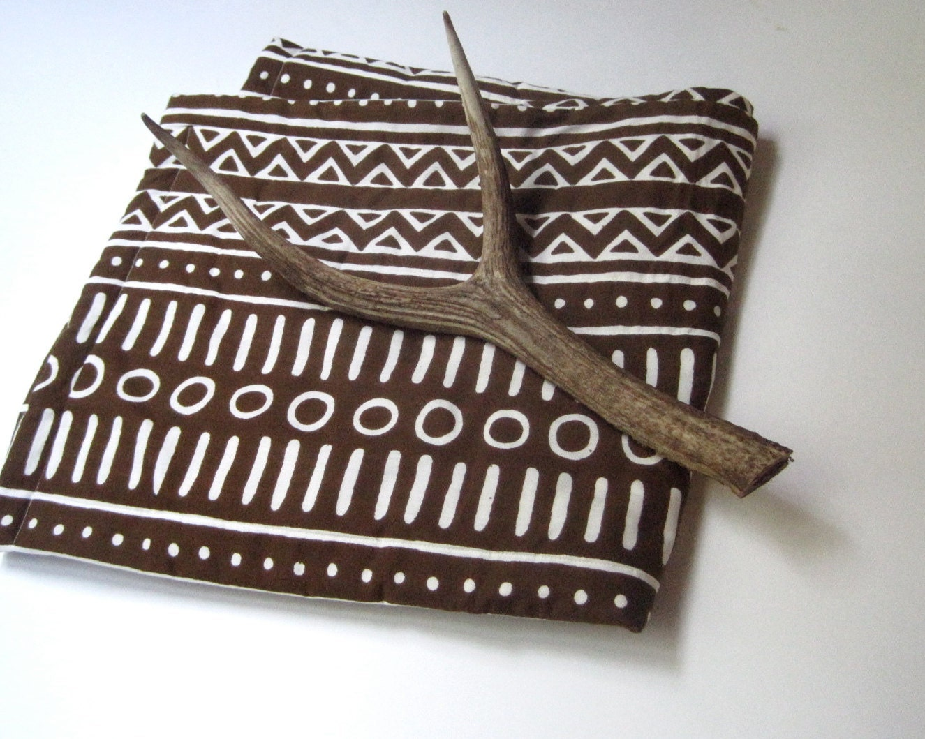 baby quilt organic tribal bedding / vintage African brown and