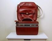 reserved do not buy............................Vintage Black Cherry Train Case and Messenger Bag