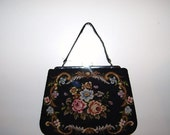 Black Friday to Cyber Mon Black with Roses 1950s Needlepoint Purse