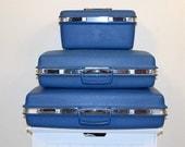 SALE.... Luggage Mod 1970s Royal Blue