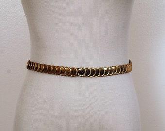 Vintage 1980's Retro Circle  Gold  Stretch BELT