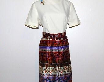 SALE..........Vintage Dress Folk Art 70s