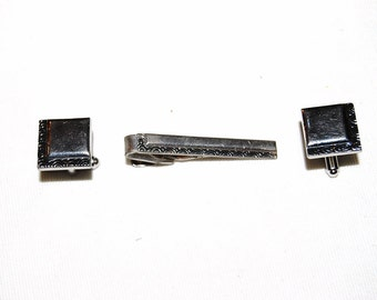Vintage Mens Cuff Links and Tie Bar Silver