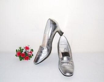 Vintage Shoes Silver 60s Glitz