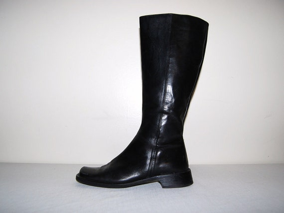 Vintage Boots Black Italian Leather