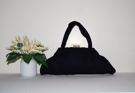 Vintage Handbag 40s Navy with Starburst