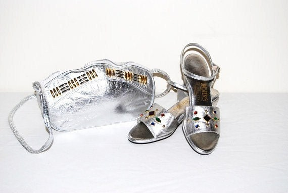 Vintage Shoes with Purse Silver Party 80s