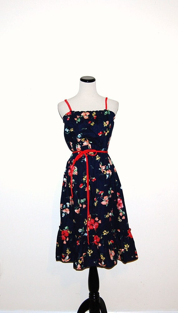 Vintage Dress Peasant Flowers