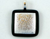 Dichroic and Fused Glass Pendant - Metallic  Silver on Black