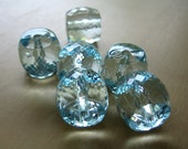 faceted acrylic sky blue barrel beads x6