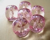 faceted acrylic pale pink barrel beads x6
