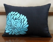 Pretty Coral Blue Flower -Embroidery Pillow Cover