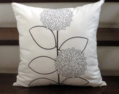 Black Brown Modern Sunflower Plant on Cream Linen  - Embroidery Pillow Cover