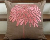 Peony  FLower Embroidery Pillow Cover in Coral Pink