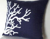 """Nautical Coral Throw Pillow Cover - 18"""" x 18"""" Decorative Pillow Cover - Navy Blue Linen with White Nautical Creature Embroidery"""