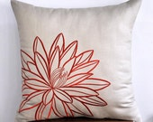 "Tan and Orange Lotus  -Throw Pillow Cover Pillow Cover  -  18"" x 18"" Decorative Pillow Cover- Tan Linen with Orange Lotus Embroidery"