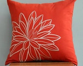 Throw Pillow Cover, Accent Pillow, Pillow Case, Cushion Cover, Decorative Pillow, OrangeLinen Pillow, Beige Lotus, Embroidered