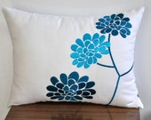 Pillow Cover, Lumbar Pillow Cover, Decorative Pillow Cover, White Linen Pillow, Turquoise Peony Pillow, Embroidered, Cushion Cover