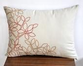 Leaves Lumbar Pillow Cover, Oatmeal Linen Orange Ochre Leaves, Embroidered Pillow, Floral Pillow Cover, Long Lumbar Pillow, Home Decor