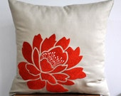 "Orange Tracy - Throw  Pillow Cover - 18"" x 18""  Decorative Pillow Cover - Tan Linen with  Orange Flower Embroidery"