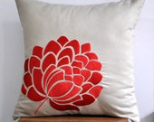 """Orange Flower - Caroline Throw  Pillow Cover 18"""" x 18""""- Embroidered Decorative Pillow Cover - Tan Linen with  Orange Flower Embroidery"""