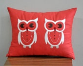 Owls Lumbar Pillow Cover, Decorative Pillow Cover, Red Orange Linen Pillow, Owls Embroidery, Pillow Case, Cushion Cover, Bird Pillow, Modern