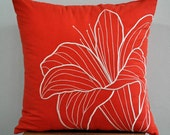 Orange Lily Pillow Cover, Embroidered Decorative Pillow Cover, Beige Flower on Orange Linen, Pillow Case , Orange Pillow Cover