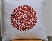 Pillow Cover, Decorative Pillow, White Linen Pillow, Red Circle of Flowers, Embroidered, Bedding, Bed Pillow, Home Decor