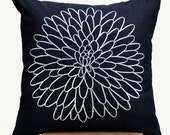 Pillow Cover,Decorative Throw Pillow Cover, Couch Pillow Cover, Blue  Black Linen, Off White Flower Embroidery, Modern Decor