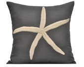 Starfish Throw Pillow Cover,Decorative Pillow Cover 18 x 18, Gray Pillow with Cream Starfish, Embroidered Pillow  Cover for Couch