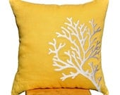 White Coral Branch Pillow Cover, Throw Pillow Cover 18 x 18, Yellow Linen white coral embroidery, Yellow Pillow Cover, Nautical Cushion
