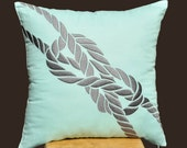 Knot Throw Pillow Cover,  Light Blue Linen Pillow, Gray Knot Embroidery, Beach Pillow Cover, Decorative Cushion Cover, 18 x 18 Pillow Cover