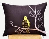 Bird on branch Lumbar Pillow Cover, Dark Brown Linen Yellow Bird  Embroidery, Bird Toss Pillow, Home Decor, Modern Contemporary Pillow