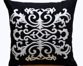 Damask Pillow Cover, Decorative Throw Pillow Cover, Black & White Pillow Cover, Pillow Case, Black Linen  pillow, white damask embroidery