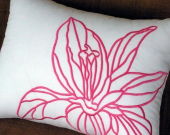 Pink Fuchsia Floral Lumbar Pillow Cover, White Linen Pink Flower Embroidery, Couch Pillow, Long Lumbar Pillow, Home Decoration, Bedding