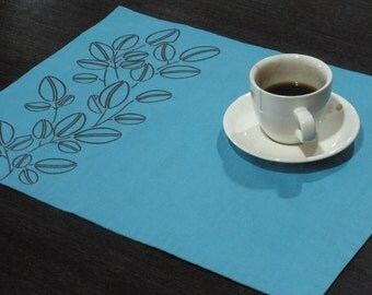 Linen Placemats, Embroidered Placemat Set of 4,Turquoise Cotton Linen Dark Brown Coffe Bean, Fabric Placemat, Table Linen, Tabletop